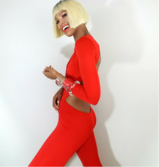 model flirty side view, Model nicole spruill, one strut models video one shoulder jumpsuit red backless, Nik spruill brand, celebrity stylist, fun jumpsuit