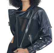 front view, leather eel skin jacket, Nik Spruill Couture, black leather jacket, Amazon, motorcycle jacket, zippered jacket