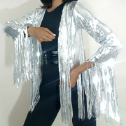 product image front view, Nik spruill brand, heavy sequined silver steel fringe jacket, celebrity high fashion haute couture, celebrity stylist jacket