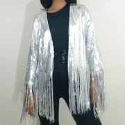 SIVA STEEL SEQUIN FRINGED JACKET