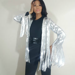 nicole spruill, high fashion haute couture, silver steel fringe jacket heavy sequined, Nik Spruill brand jacket, one strut models don't do it video black one shoulder jumpsuit
