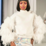 Nik Spruill ostrich feather, Neoprene off white top, front view