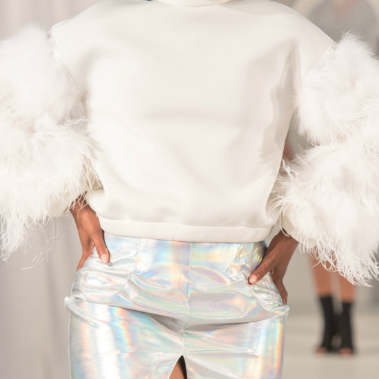Nik Spruill ostrich feather Neoprene off white top, ready-to-wear, close up view