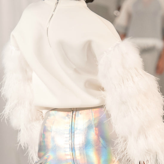 Nik Spruill ostrich feather Neoprene top, off white, silver metallic, side view