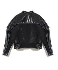 back view eel skin jacket, black leather jacket, open mesh, Nik Spruill, Couture jacket