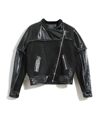 product photo, motorcycle jacket, eel skin leather jacket, Nik Spruill, exotic material leather jacket