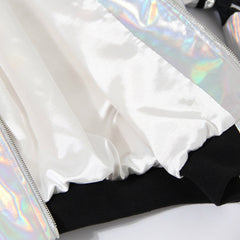 Nik Spruill, silver textile material, lining, holographic fabric