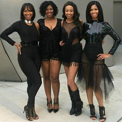 one strut models black one shoulder jumpsuit, backless jumpsuit one strut, black fringe romper don't do it video leikeli47, black mesh skirt, patent leather top Nik Spruill brand stylist Nicole Spruill, ready-to-wear