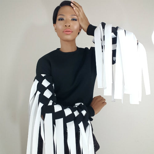 model, hand on head, fringe, black, white, sweatshirt, designer top, Nik Spruill, Nik Spruill Brand, Nik Couture Collection, Wonderland Collection by Nik Spruill
