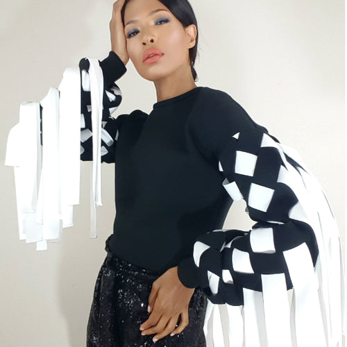 fringe, black and white, top, sweatshirt, Nik Spruill brand, Nik Spruill Couture, Color block, model front view