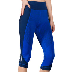 High waist legging, color block, blue legging, Nik Spruill, Yoga legging, front view, Nik Spruill Brand