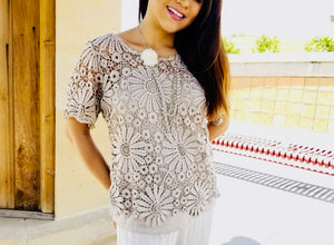 Woven lace short sleeve top