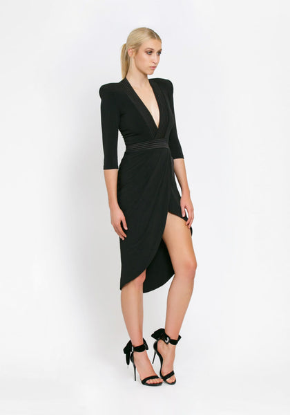 Eye of Horus Midi Dress Black