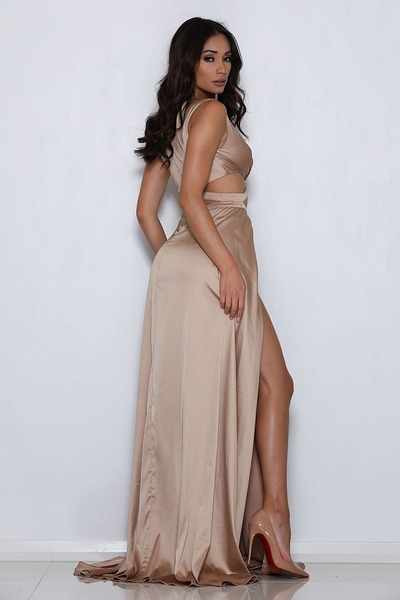 Ariana Satin Gold Gown