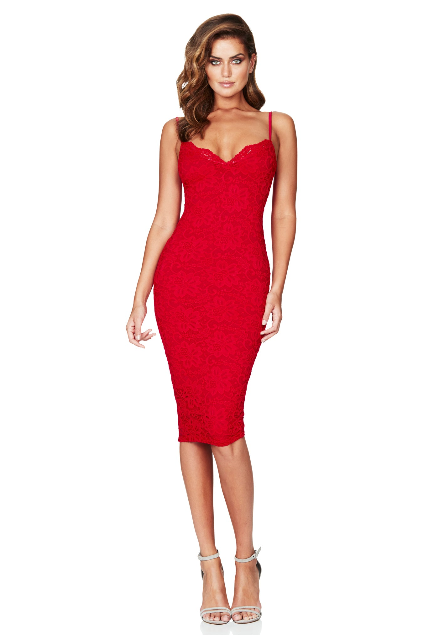 Paris Lace Midi Dress Red