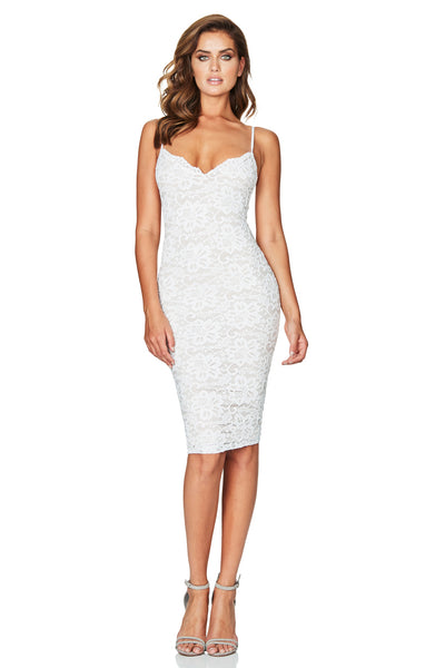 Paris Lace Midi Dress White