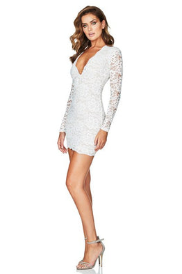 Paris Lace Mini White Dress