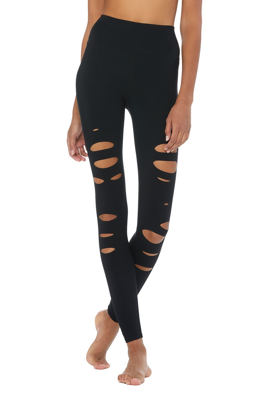 High Waisted Ripped Warrior Legging - Black