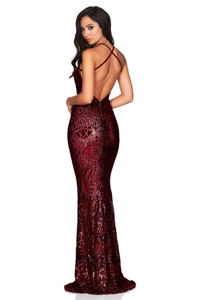 Shanina Plunge Gown Wine