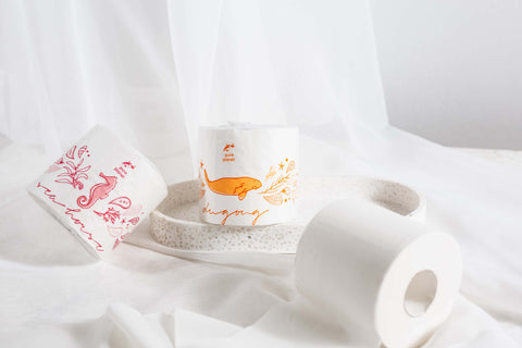 Eco-friendly, plastic-free bamboo toilet paper by Pure Planet Club
