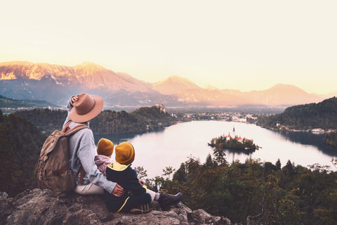 Family overlooking a beautiful lake