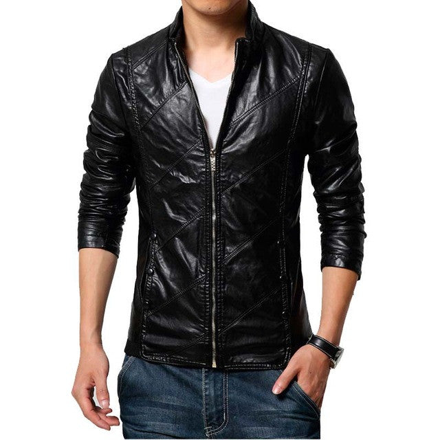 a4f08400dc1 New Fashion PU Leather Jacket Men Black Red Brown Solid Mens Trend Slim Fit  Youth Motorcycle Suede Jacket And Coat Male
