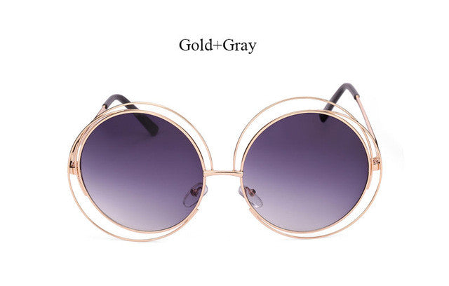 058d9db3345 Vintage Round Big Size Oversized lens Mirror Brand Designer Pink Sunglasses  Lady Cool Retro UV400 Women Sun Glasses Female