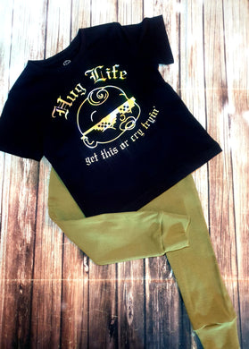 Hug Life Black And Gold Shirt - Pitter Patter Baby Boutique