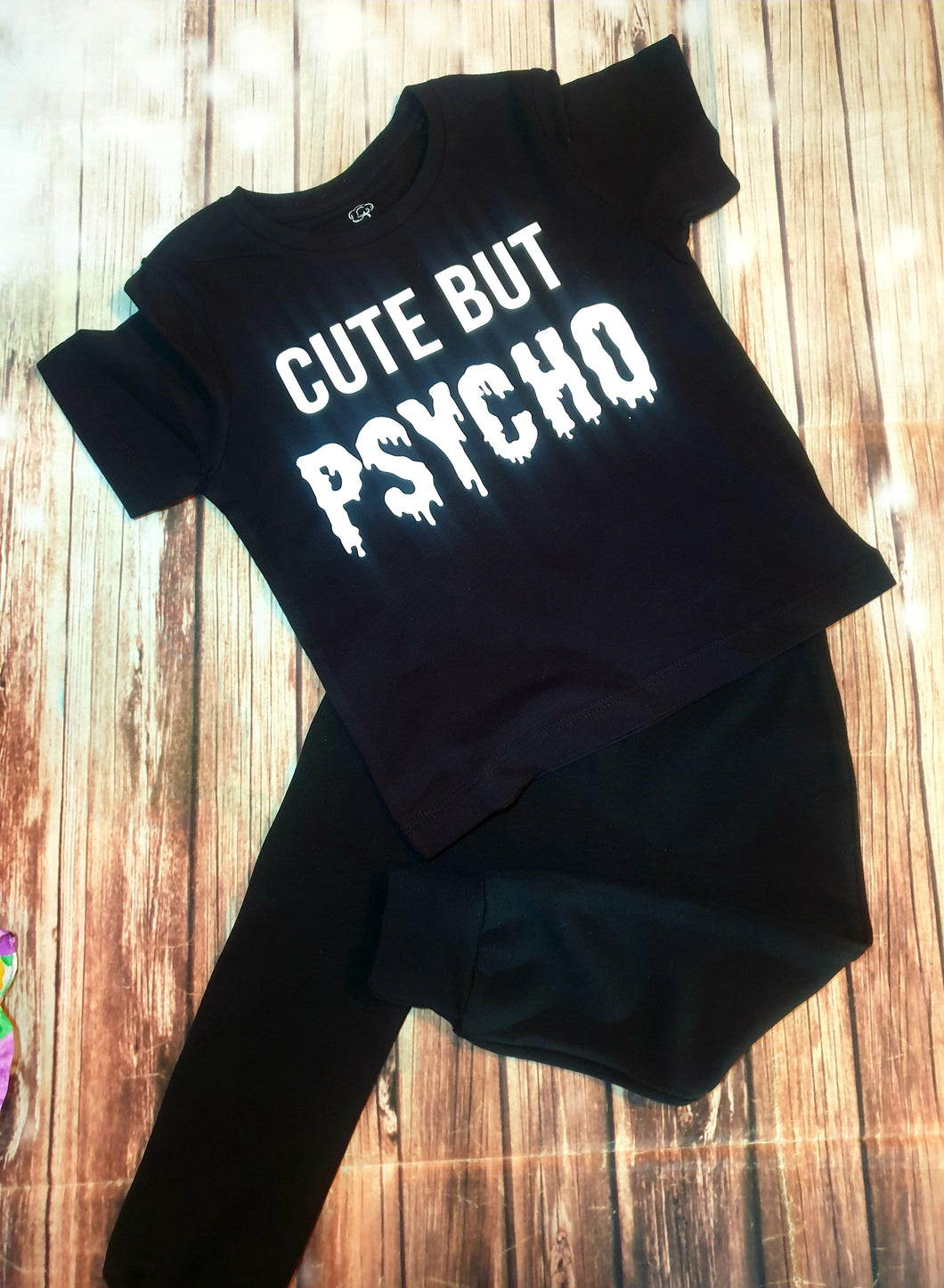 Cute But Psycho Black And White Tshirt - Pitter Patter Baby Boutique