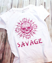 Girl's Super Glitter Savage Print Skull Tee - Pitter Patter Baby Boutique
