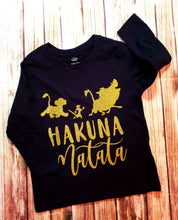 Hakuna Matata Blue Or Gold Glitter Tee - Pitter Patter Baby Boutique