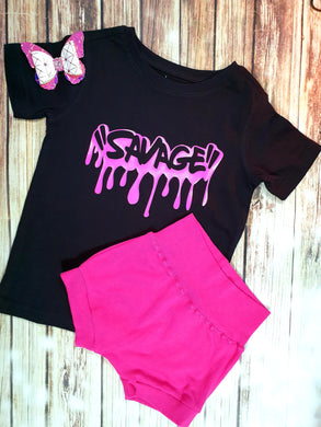 Savage, Neon Pink Girl's Tee - Pitter Patter Baby Boutique