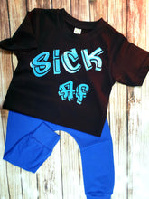 Sick AF Graffiti Font T shirt Blue - Pitter Patter Baby Boutique