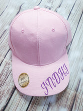 Girl's Purple Glitter Personalized Pink Cap