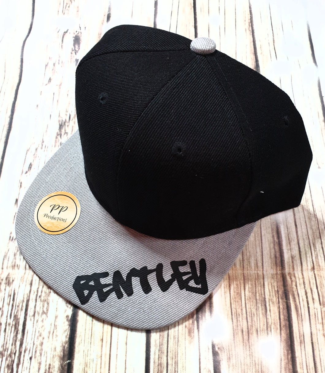 Black And Gray Personalized Snap Back