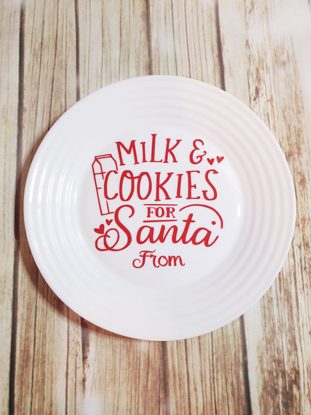 Cookies And Milk For Santa Glass Plate
