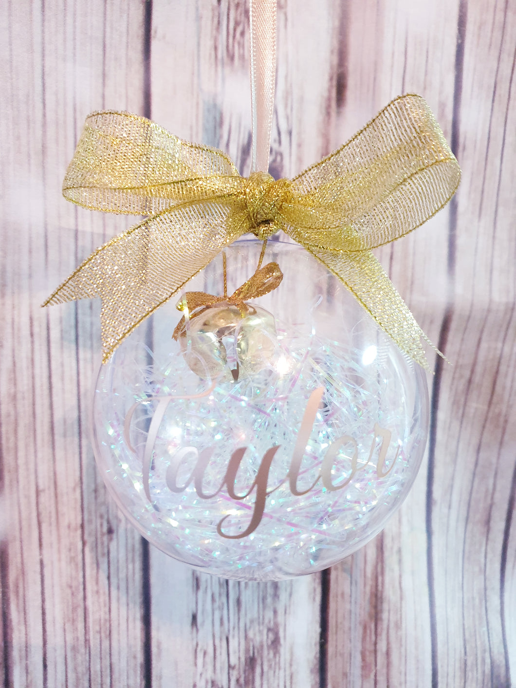 XL personalized bauble, gold or purple trim