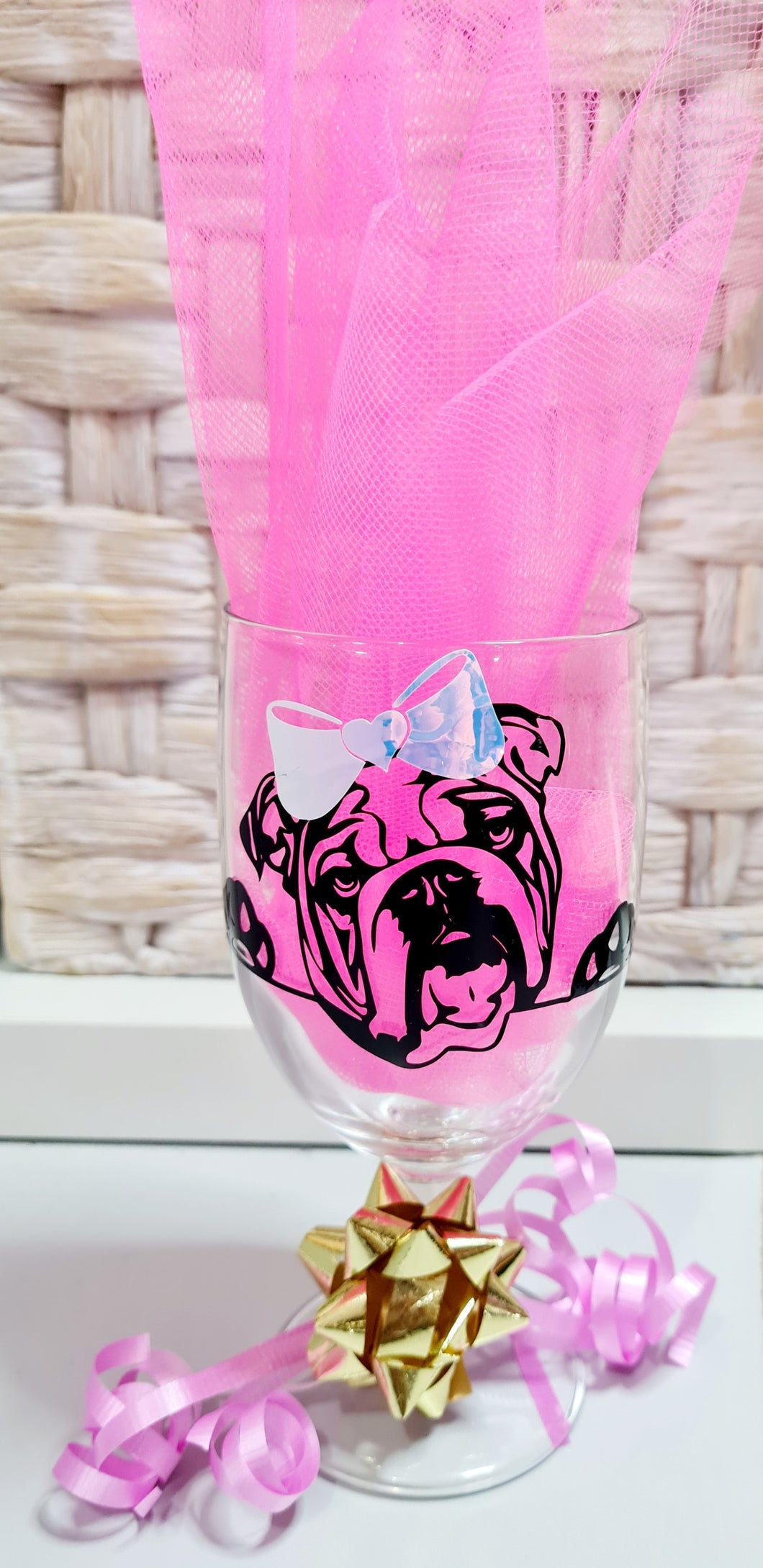 Bulldog Personalized Wine Glass