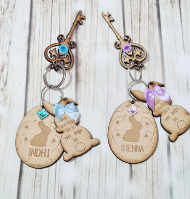 Magic Easter Bunny Key Ring Set, Personalized Easter Key Set