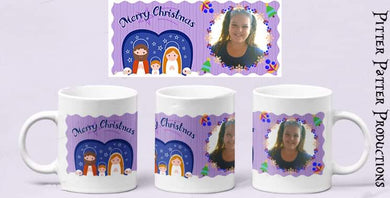 Purple custom photo mug