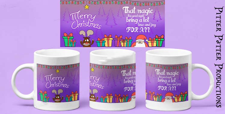 Merry Christmas Mug, Purple Theme
