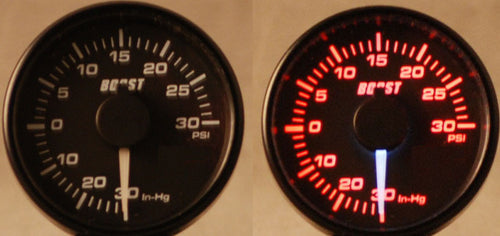 45mm Electrical boost gauge - White Needle/ Red Backlight