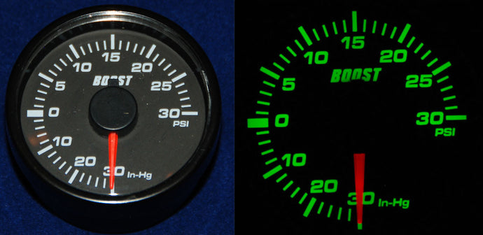 45mm Turbo Boost Gauge - Red Needle/ Green Backlight