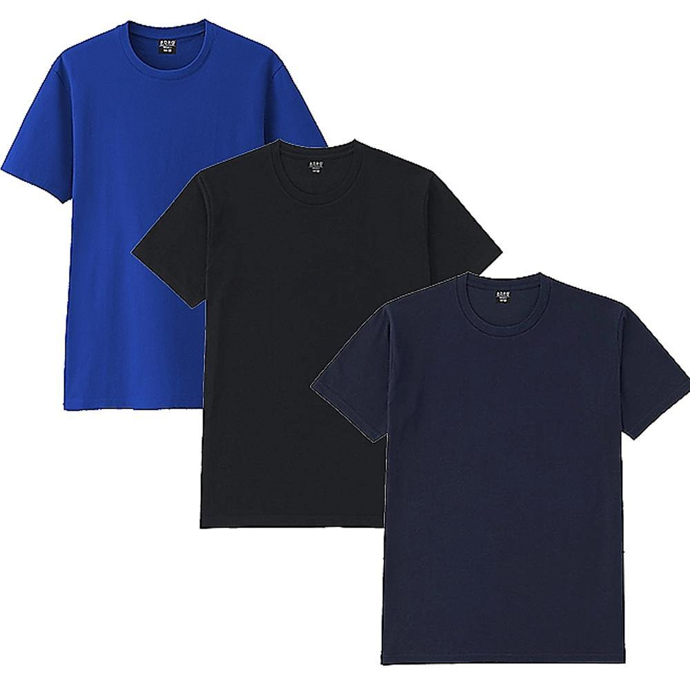 Adro Men's Plain Round Neck T-Shirt - Pack of 3