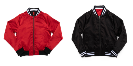 Unisex Reversible Satin Bomber (Black/Red)