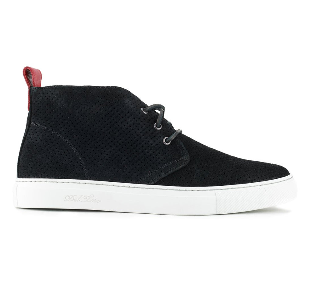 Black Perforated Suede Chukka