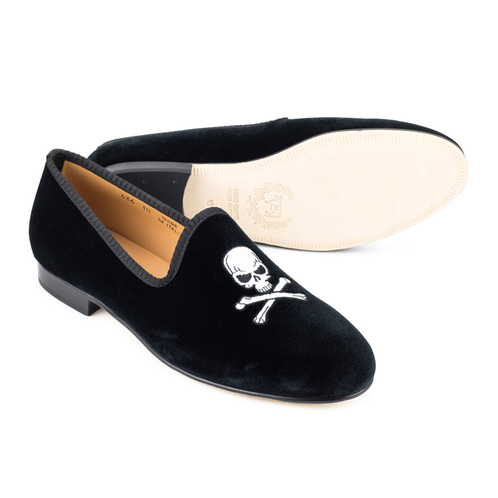 Black Velvet Slipper with Skull & Bone