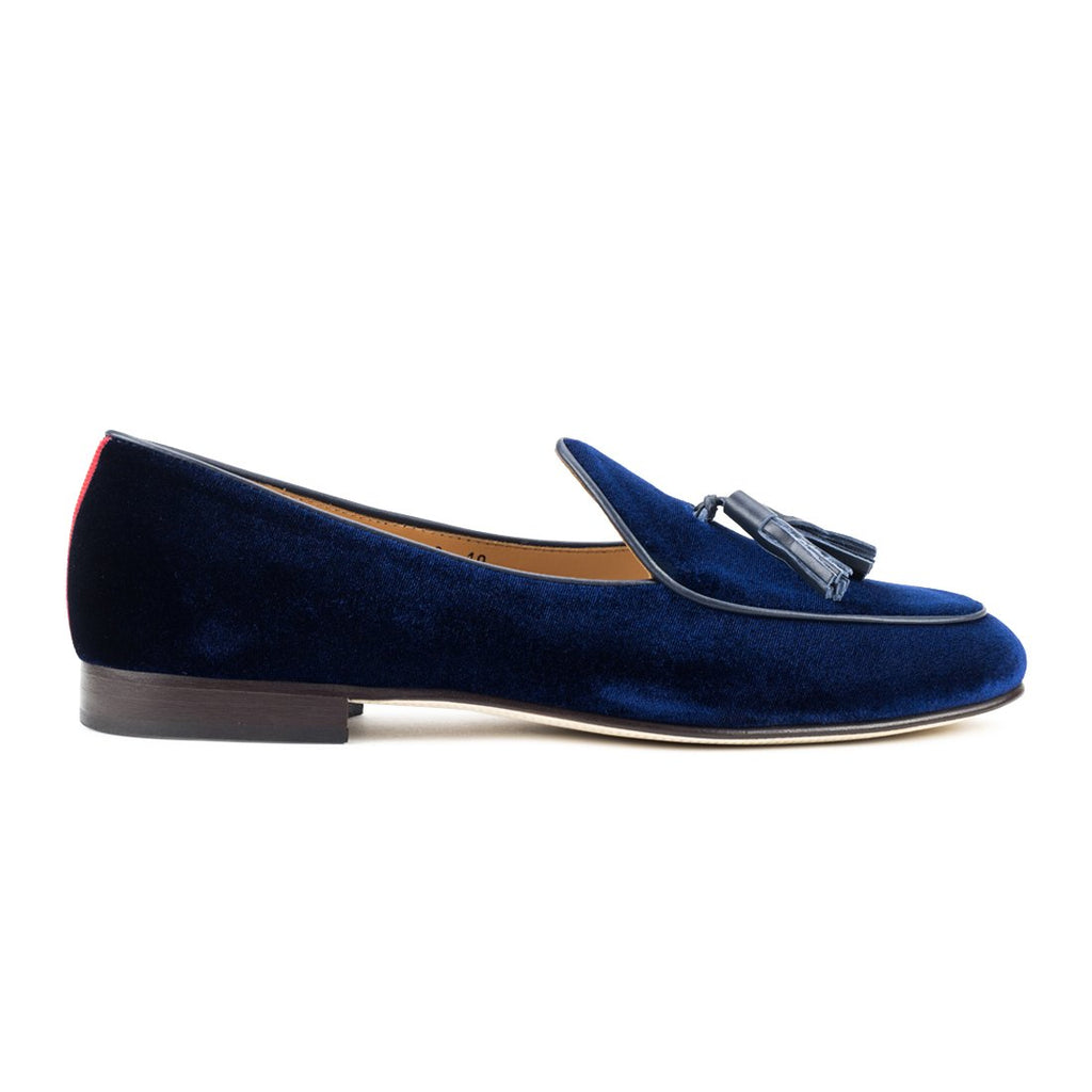 Navy Velvet Italian Loafer with Navy Tassel