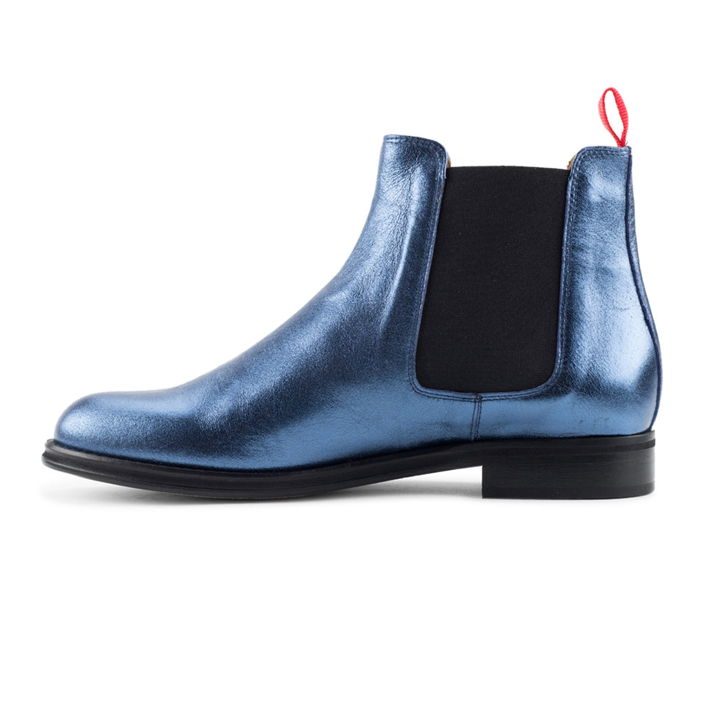 Women's Navy Metallic Chelsea Boot