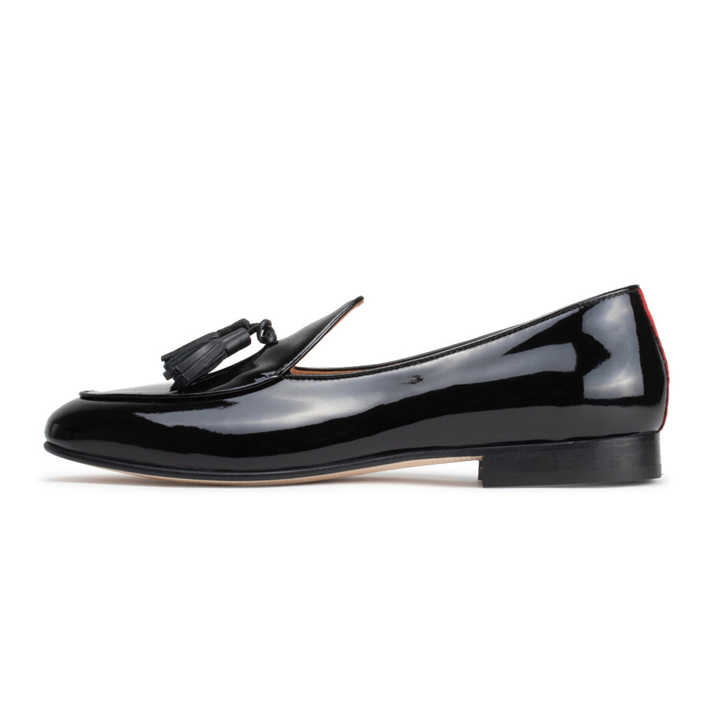 Black Patent Leather Italian Loafer with Black Tassel